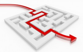 3D Red Arrow Leading Through A Maze