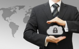Secured Online Cloud Computing Concept with Business Man protecting data